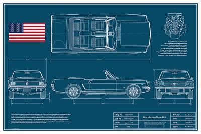 Ford Mustang Convert Blueplanprint Print by Douglas Switzer