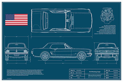 Ford Mustang Coupe Blueplanprint Print by Douglas Switzer