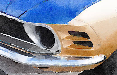 Old Mixed Media - Ford Mustang Front Detail Watercolor by Naxart Studio