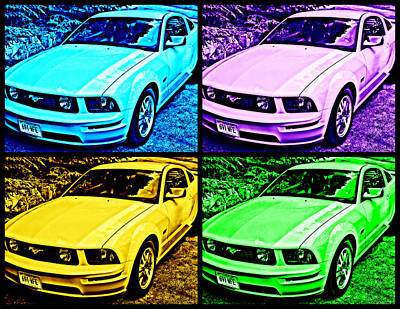Ford Mustang Gt Collage 4 Print by Aurelio Zucco
