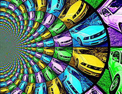 Ford Mustang Gt Collage 5 Print by Aurelio Zucco