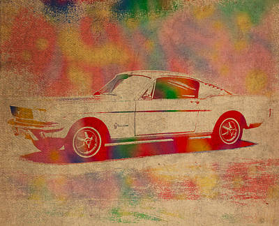 Ford Mustang Watercolor Portrait On Worn Distressed Canvas Print by Design Turnpike