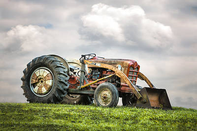 Tractor Photograph - Ford Powermaster Tractor On A Hill by Gary Heller