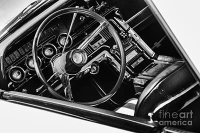 60s Photograph - Ford Thunderbird Interior Monochrome by Tim Gainey