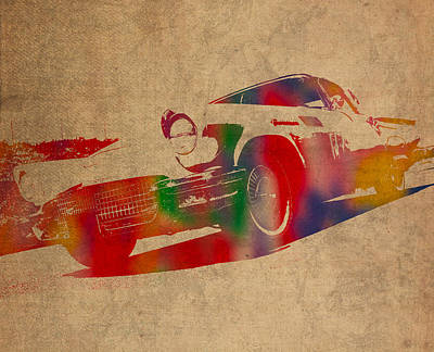 Ford Thunderbird Watercolor Portrait On Worn Distressed Canvas Print by Design Turnpike