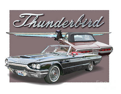 Ford Thunderbirds 1964 Print by Dan Knowler