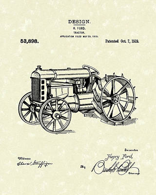Rural Scenes Drawing - Ford Tractor 1919 Patent Art by Prior Art Design