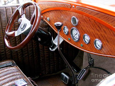 Ford V8 Dashboard Print by Mary Deal