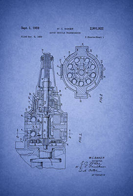 Antique Automobiles Drawing - Ford Vehicle Transmission Patent 1959 by Mountain Dreams