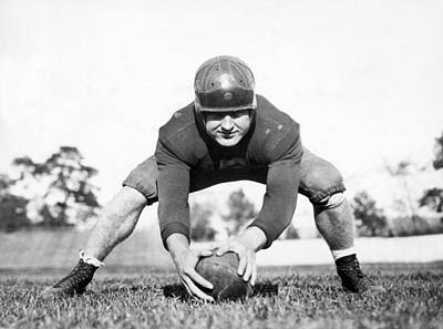 Crouched Photograph - Fordham Football Center by Underwood Archives