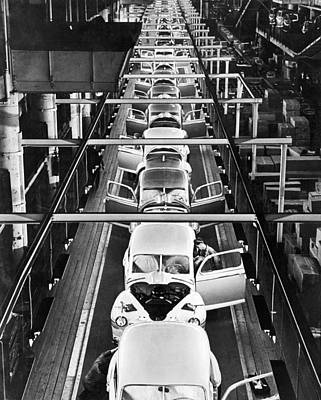 Factory Photograph - Ford's Mercury Assembly Line by Underwood Archives