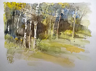 Watercolor Painting - Forest And Lights by Lorand Sipos