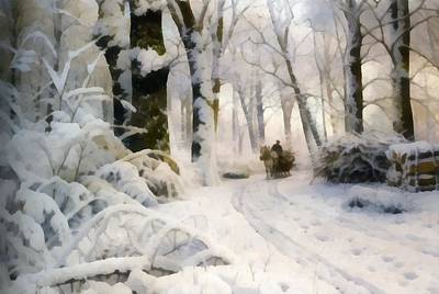 Snow Covered Trees Digital Art - Forest In Winter by Peder Mork Monsted