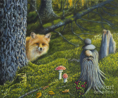 Red Fox Painting - Forest Life by Veikko Suikkanen