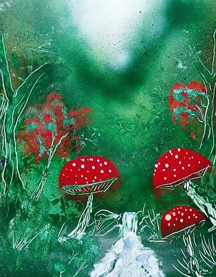 Forest Mushrooms Original by Thomas Roteman