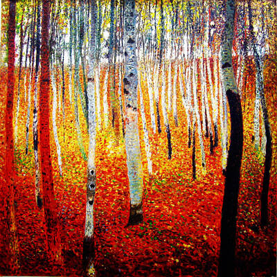 Forest Painting - Forest Of Beech Trees by Celestial Images