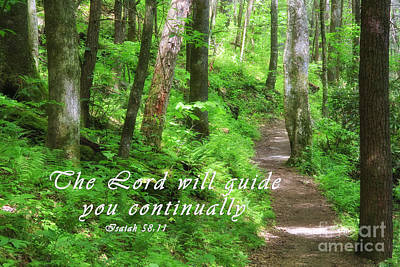 Rural Scenes Photograph - Forest Path With Scripture by Jill Lang