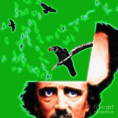 Haunted Digital Art - Forevermore - Edgar Allan Poe - Green - Square by Wingsdomain Art and Photography