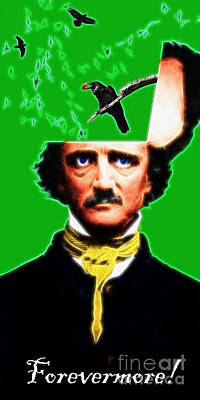 Long Size Digital Art - Forevermore - Edgar Allan Poe - Green - With Text by Wingsdomain Art and Photography