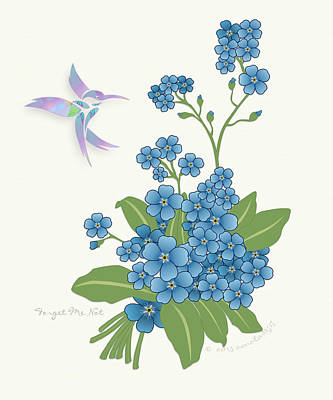 Forget Me Not Flower Print by Gayle Odsather