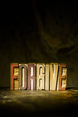 Forgive Antique Letterpress Printing Blocks Print by Donald  Erickson