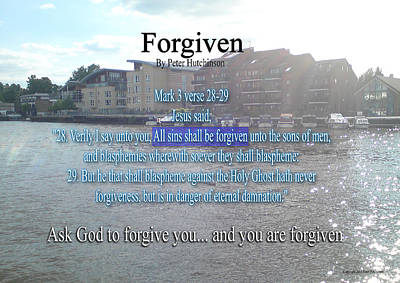 Forgiven Print by Bible Verse Pictures