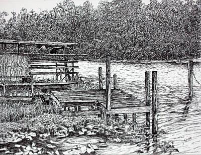 Drawing - Forgotten Dock by Janet Felts