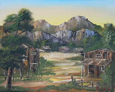 Nipa House Painting - Forgotten Village by Remegio Onia
