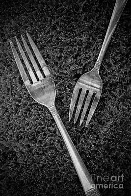 Fork Still Life Black And White Print by Edward Fielding