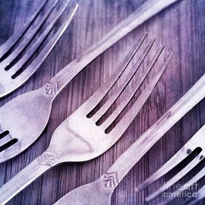 Diner Photograph - Forks by Priska Wettstein