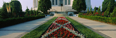 House Of Worship Photograph - Formal Garden In Front Of A Temple by Panoramic Images