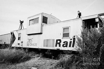 former canadian pacific railcar now great sandhills railway steel caboose Saskatchewan Canada Print by Joe Fox