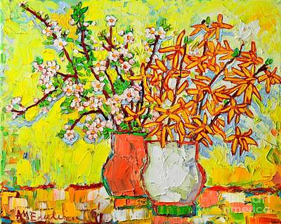 Forsythia Painting - Forsythia And Cherry Blossoms Spring Flowers by Ana Maria Edulescu
