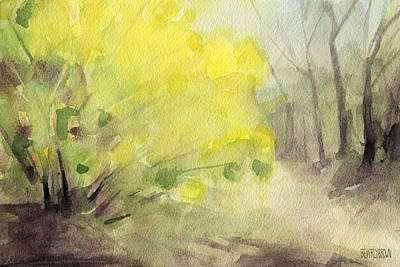 Forsythia In Central Park Watercolor Landscape Painting Print by Beverly Brown Prints