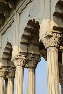 Fort Agra Pillars In India Print by Brandon Bourdages