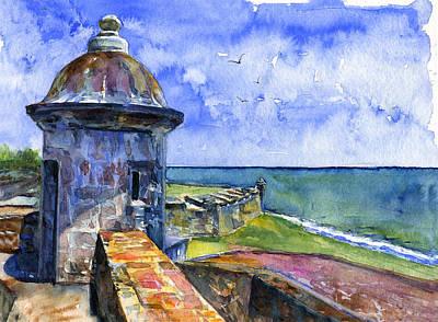 Puerto Rico Painting - Fort San Juan Puerto Rico by John D Benson