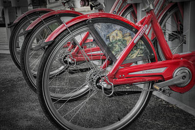 In A Row Photograph - Fort Worth Bikes by Joan Carroll