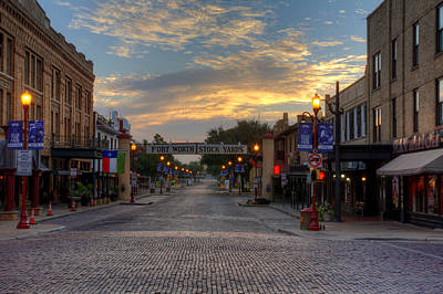 Town Photograph - Fort Worth Stockyards Sunrise by Jonathan Davison