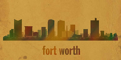 Fort Worth Texas City Skyline Watercolor On Parchment Print by Design Turnpike
