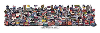 Limited Digital Art - Fort Worth Texas Classic Photomontage by Carl Crum