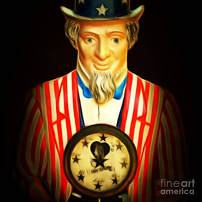 Uncle Sam Digital Art - Fortunes Be Told By Uncle Sam Fortune Machine 7d14405 Square by Wingsdomain Art and Photography