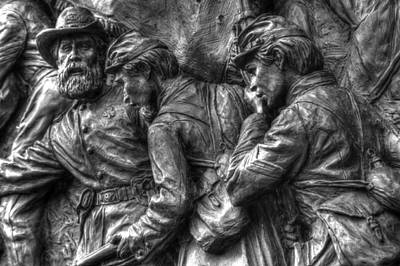 Forward Men - On My Lead.  State Of Delaware Monument Detail-i Gettysburg Autumn Mid-day. Print by Michael Mazaika