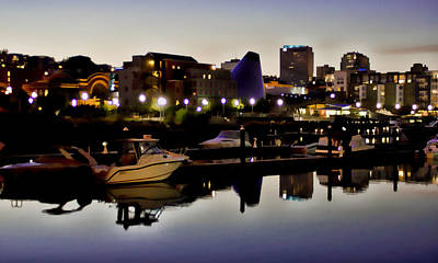 Foss Waterway At Night Print by Ron Roberts
