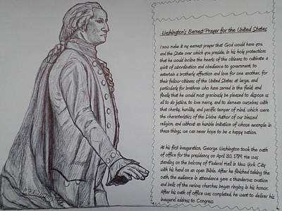 George Washington Drawing - Founding Fathers by Christy Saunders Church