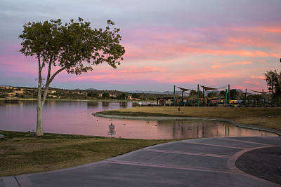 Fountain Hills Arizona Lake At Sunset Print by Dave Dilli