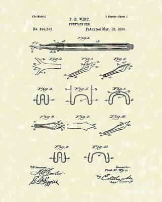 Fountain Pen 1889 Patent Art Print by Prior Art Design