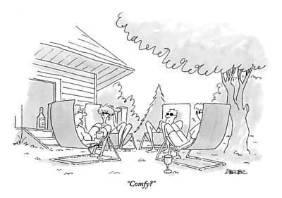 Lawn Chairs Drawing - Four Adults Sit Outside On Uncomfortable Looking by Jack Ziegler