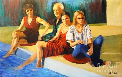 Painted Ladies Painting - Four At A  Pool by Dagmar Helbig