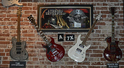 Vintage Four Autographed Guitars And Signed Record From Bands Avenged Sevenfold- The Off Spring  Print by Renee Anderson