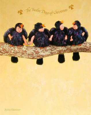 Of Birds Photograph - Four Calling Birds by Anne Geddes